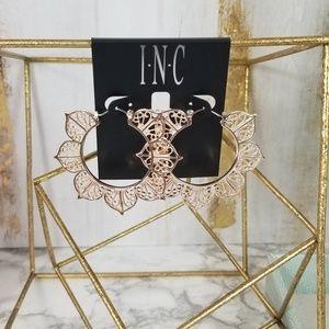 INC Rose Gold Flower Petal Hoops
